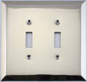 Jumbo Stamped Polished Nickel Two Gang Toggle Light Switch Wall Plate