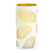 Candle Impressions CAT12001WH Laser Etched Leaf Design Metal Luminary, 3.5-by 7, White/Gold
