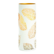 Candle Impressions CAT12452WH Laser Etched Leaf Design Metal Luminary, 3.5-by 9, White/Gold