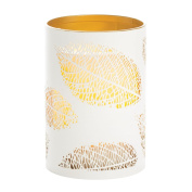 Candle Impressions CAT12451WH Laser Etched Leaf Design Metal Luminary, 3.5-by 5, White/Gold