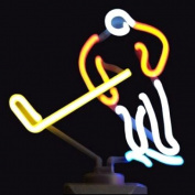 Indoor Glass tube Neon Signs with on/off switch on base A4 Size,Business Signs with Ice Hockey Sculpture
