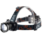 GRDE® Super Bright Head Torch With 3 Modes, 1800 Lumens Zoomable LED Headlamp, Comfortable And Lightweight Headlights, For Hunting Fishing Riding Camping Walking the Dog, Powered By 3AA Batteries