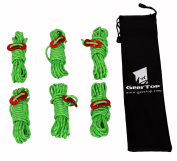GEERTOP 4mm Reflective Cord Guy Line Tent Guide Rope with Aluminium Adjuster - 4m 6 pack for camping