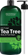 Antifungal Tea Tree Oil Body Wash & Foot Wash – HUGE 470ml – 100% Pure & Natural - Extra Strength Professional Grade - Helps Soothe Toenail Fungus, Athlete Foot, Body Itch, Jock Itch & Eczema