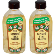 Monoi Tiki Tahiti Sandalwood Coconut Oil (Pack of 2), Scented With Fresh Handpicked Tiare Flowers, 100% Made in Tahiti, 120ml