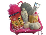 Mother's day Spa Gift Basket, Includes The Bathery Charcoal Infused Spa Set(Bath Puff, Facial Discs), Mayfair Shower Gel/Bubble Bath, Body Lotion, sea shells, Yankee candle, Burt's Bees set