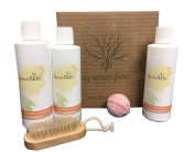 """Special Home Spa Gift Set with Herbal Shampoo and Conditioner, Turmeric Body Lotion, Bath Bomb, Nail Brush - Perfect """"Thank-You"""" gift for Friends, Co-Workers, Mother"""