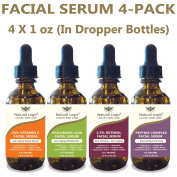 4 Bottle Serum Set – Natural Logix Anti-Ageing Facial Serums - 20% VITAMIN C (30ml) | 2.5% RETINOL (30ml) | 5% HYALURONIC ACID (30ml) | PEPTIDE COMPLEX (30ml), Natural and Vegan