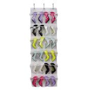 Gisssy Studio 24 Pockets Over The Door Shoe Organiser, Crystal Clear PVC Shoe Rack Door Shelf Hanger Holder Storage Bag