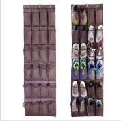 eShion Nonwoven Nylon Mesh Over The Door Shoe Organiser,24 Pockets, Colour Coffee