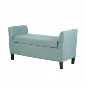 Modern Retro Upholstered Accent Storage Bench with Arm and Espresso Wood Legs - Includes Modhaus Living Pen