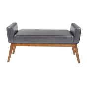 Mid Century Retro Grey Faux Leather Accent Bench with Welted Trim, Side Arms and Long Tapered Legs - Includes Modhaus Living Pen