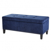 Modern Blue Upholstered Button Tufted Storage Ottoman Bench with Silver Nailheads and Black Legs - Includes ModHaus Living Pen