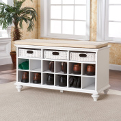 Chrisford Entryway Shoe White Bench
