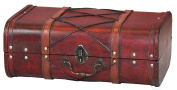 Antique Cherry Wooden Suitcase with Leather X Design