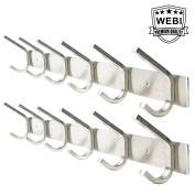 2 Packs, WEBI Heavy Duty Stainless Steel 304 Hook Rail Coat Rack, Satin Finish, Great Home Storage & Organisation For Bedroom, Bathroom, Foyers, Hallways