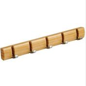 Solid Wood Hanging Coat Rack - Ehonestbuy Hat Hook Rail Hook with Foldable 5 Alloy Hooks, 46cm