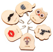 6pcs Cute Cartoon Viscose type Wood Wall Hooks Hanger,Room Decorations
