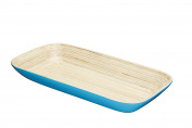 "KitchenCraft ""We Love Summer"" Bamboo Wood Serving Dish / Bread Bowl, 19 x 39.5 cm (7.5"" x 15.5"") - Blue"