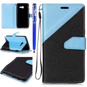 FESELE Samsung Galaxy J5 2017 PU leather Cover with Frosted Leather Combination of Two Colours Together Design PU Leather Bookstyle Wallet Case Magnetic Closure with Stand Function PU Leather Wallet Flip Cover Sleeve Card Slot and Banknotes Pocket with ..