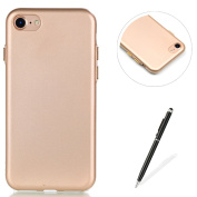 iphone 7 Case,iphone 7 Soft Gel TPU Bumper Shockproof Case MAGQI Premium Full Matte Gold Button Painting Series Design Flexible Silicone Rubber Skin [Anti-Scratch] Ultra Thin Drop Protection Cover with Free Stylus Pen for iphone 7 12cm - Gold
