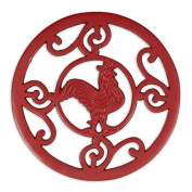 DII Red Rooster Scroll Trivet