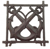 Rustic Ships Anchors Kitchen Trivet Cast Iron