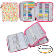 Teamoy Organiser Case for Interchangeable Circular Knitting Needles, Crochet hooks and Knitting Accessories, Keep All in One Place and Easy to Carry, Flowers Pink