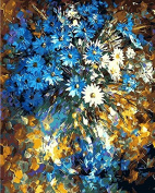 Arts Language Wooden Framed 41cm x 50cm Paint by Numbers Diy Painting blue flower