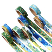 Washi Tape Set Masking Tape Art Crafty Oil Painting Van Gogh Rolls Decorate DIY Adhesive Paper Tape 15mmX7mm