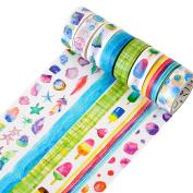 DIY Decorative Washi Tape Set Masking Tape Art Crafty Rolls Decorate Basic Classic Adhesive Paper Tape 15mmX7mm