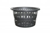 Whitefurze H191C2 Plastic Round Laundry Basket, Silver