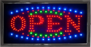 LED Open Sign Bright Flashing Window Hanging Display Neon Light Shop 48x25cm
