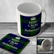 MAC_KC_197 Keep Calm I'm a Robertson (Tartan, Scottish Clan) - Mug and Coaster set