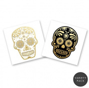 SKULLS VARIETY PACK Flash Tattoos set of 24 assorted premium waterproof metallic gold and silver jewellery temporary foil party tattoos - party supplies