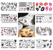 10 Sheets Temporary Tattoo Arm Shoulder Neck Hand Tattoo Set C