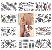 10 Sheets Temporary Tattoo Arm Shoulder Neck Hand Tattoo Waterproof