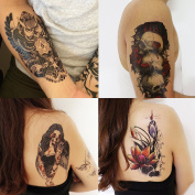 GIFT!Tastto 4 Sheets Temporary Tattoos of Sexy Lady,Lotus,Rose Skull,Lotus,Owl with Gift