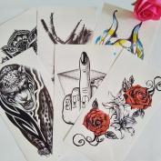 070FC 6-Sheet Large 3d Tattoo Sticker Animal Flower Girl Pattern Temporary Tattoos for Men Women Body Art Makeup Fake Tattoo