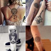 070FC 6-Sheet Body Art Lotus Totem Temporary Tattoo Sticker for Girl Women Waterproof Transferable Arm Tattoos Fake Tattoo
