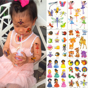 DaLin 6 Sheets Glitter Temporary Tattoos for Kids, Elves, Honeybee, Butterfly, Dragonfly, Little Fawn, Tiger and more