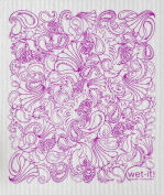 Swedish Treasures Wet-it! Cleaning Cloth, Paisley in Purple, Super Absorbent, Reusable, Biodegradable, All-purpose
