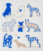 Swedish Treasures Wet-it! Cleaning Cloth, Dog Lover in Blue, Super Absorbent, Reusable, Biodegradable, All-purpose