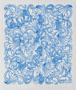 Swedish Treasures Wet-it! Cleaning Cloth, Paisley in Blue, Super Absorbent, Reusable, Biodegradable, All-purpose