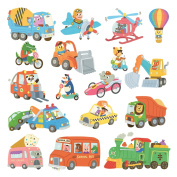 Decowall DW-1704 Animal Transports Peel and Stick Nursery Wall Stickers Decals