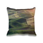 Square 41cm x 41cm Zippered Field Nature Green Flower Wood Earth Morning Flare Pillowcases Digital Print Adults Kids Cushion Covers