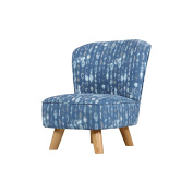 Babyletto Pop Mini Chair, Cosmo Cotton in Indigo with Walnut Legs