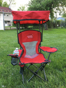 Kid's Folding Chair with Canopy and Durable Carry Bag Red