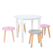 Max & Lily White Wood Round Kid and Toddler Table + Stools