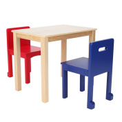 Max & Lily Natural Wood Kid and Toddler Rectangular Table + Chairs